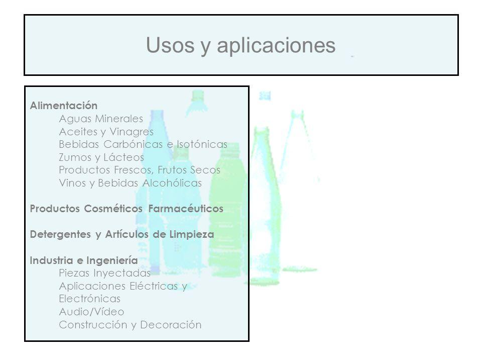 Usos y aplicaciones Alimentación Aguas Minerales Aceites y Vinagres