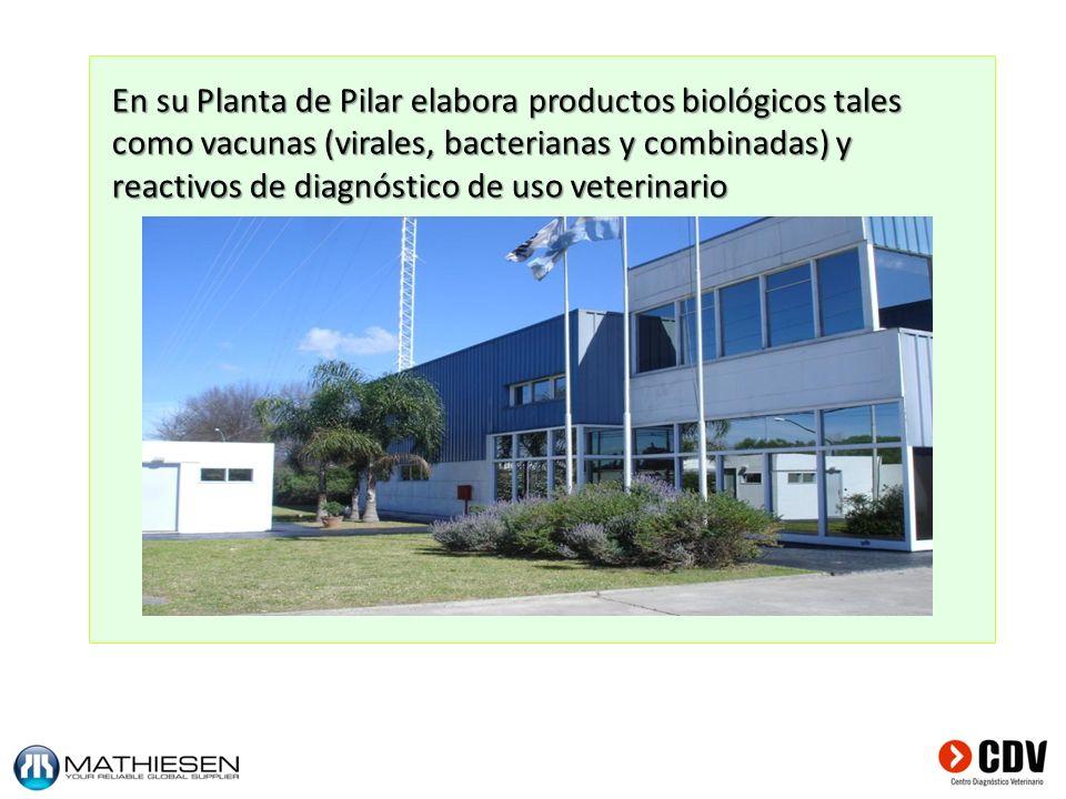 En su Planta de Pilar elabora productos biológicos tales como vacunas (virales, bacterianas y combinadas) y reactivos de diagnóstico de uso veterinario