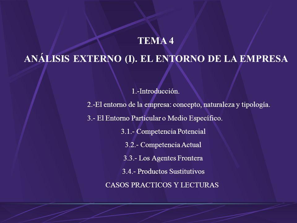 ANÁLISIS EXTERNO (I). EL ENTORNO DE LA EMPRESA