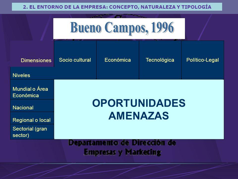 Bueno Campos, 1996 OPORTUNIDADES AMENAZAS Dimensiones Socio cultural
