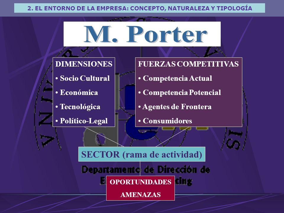 M. Porter SECTOR (rama de actividad) DIMENSIONES Socio Cultural