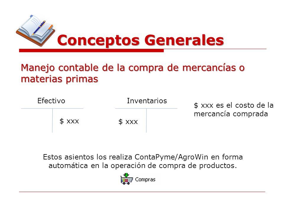 Conceptos Generales Manejo contable de la compra de mercancías o materias primas. Efectivo. Inventarios.