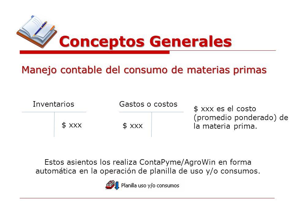 Conceptos Generales Manejo contable del consumo de materias primas