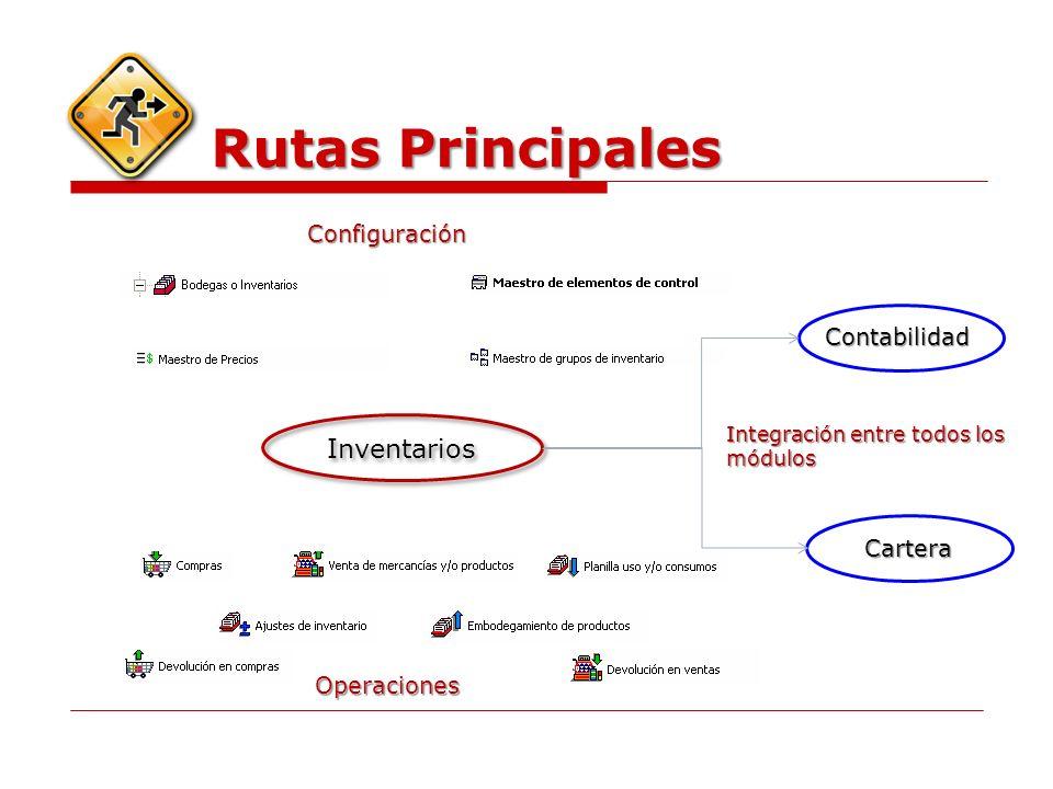 Rutas Principales Inventarios Configuración Contabilidad Cartera