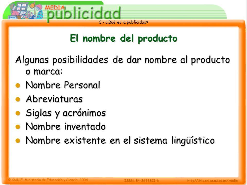 El nombre del productoAlgunas posibilidades de dar nombre al producto o marca: Nombre Personal. Abreviaturas.