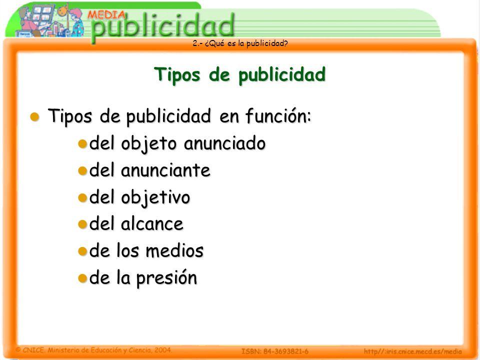 Tipos de publicidad Tipos de publicidad en función: del objeto anunciado. del anunciante. del objetivo.