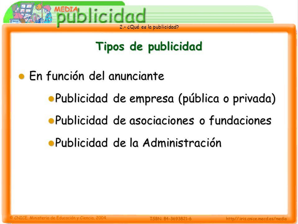 Tipos de publicidadEn función del anunciante. Publicidad de empresa (pública o privada) Publicidad de asociaciones o fundaciones.