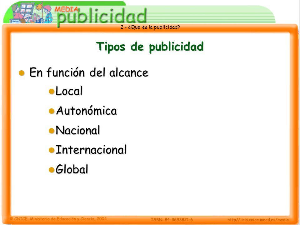 Tipos de publicidad En función del alcance Local Autonómica Nacional Internacional Global