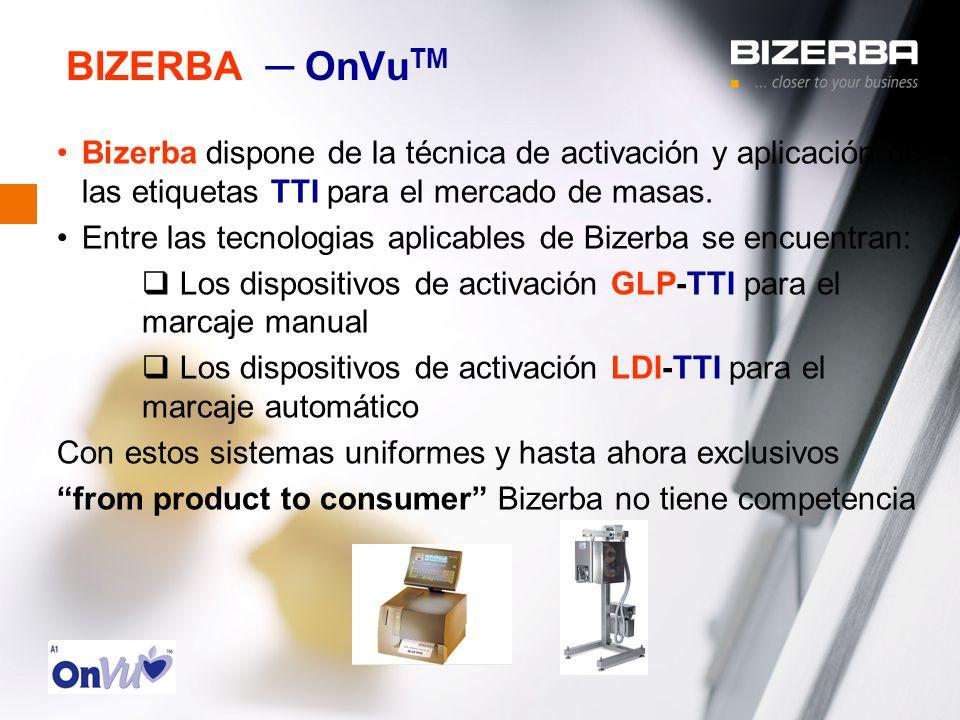 BIZERBA ─ OnVuTM Bizerba dispone de la técnica de activación y aplicación de las etiquetas TTI para el mercado de masas.