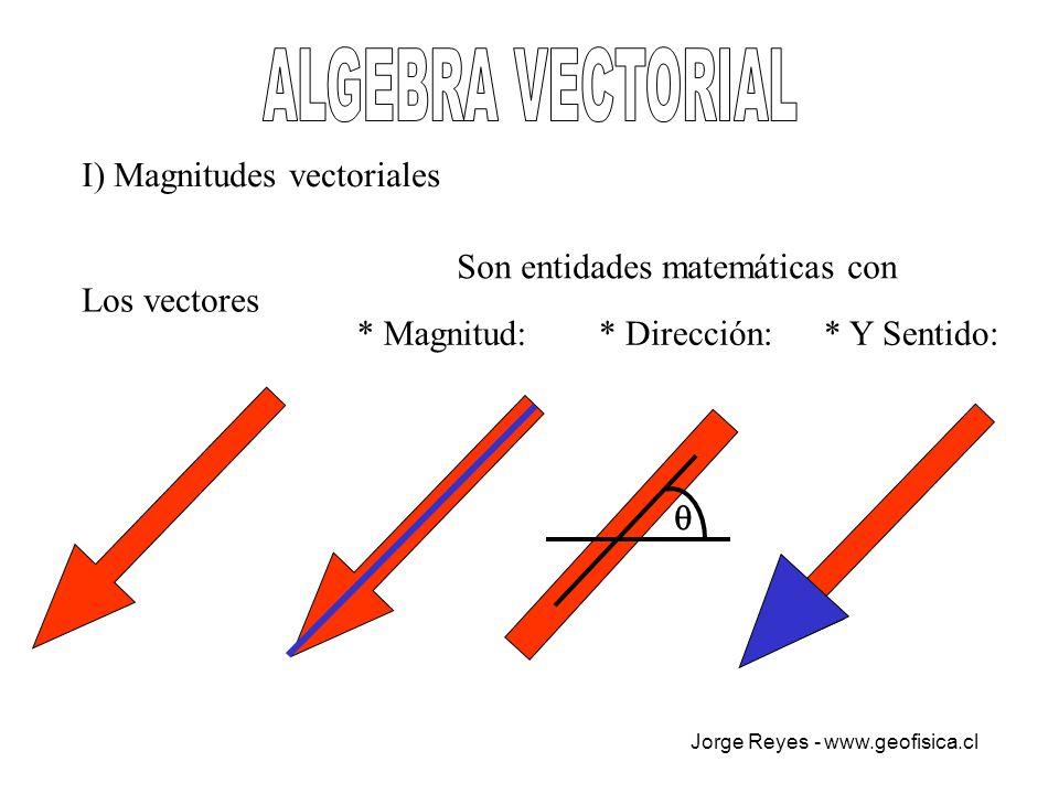 ALGEBRA VECTORIAL I) Magnitudes vectoriales