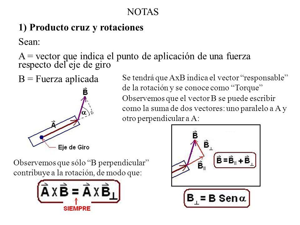1) Producto cruz y rotaciones Sean: