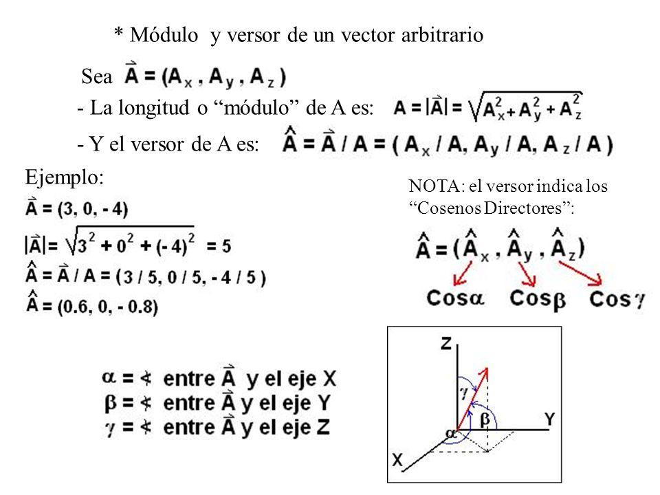 * Módulo y versor de un vector arbitrario