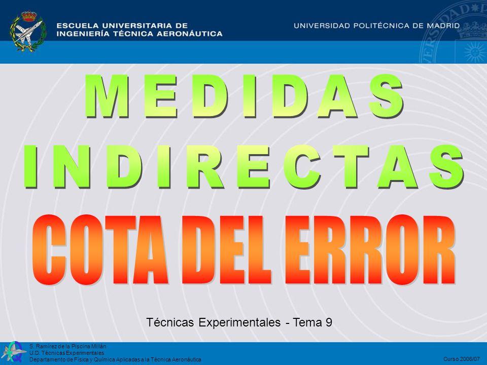 COTA DEL ERROR MEDIDAS INDIRECTAS Técnicas Experimentales - Tema 9