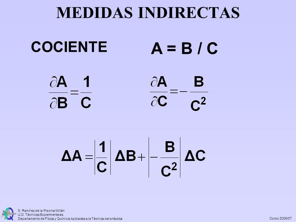 MEDIDAS INDIRECTAS COCIENTE A = B / C