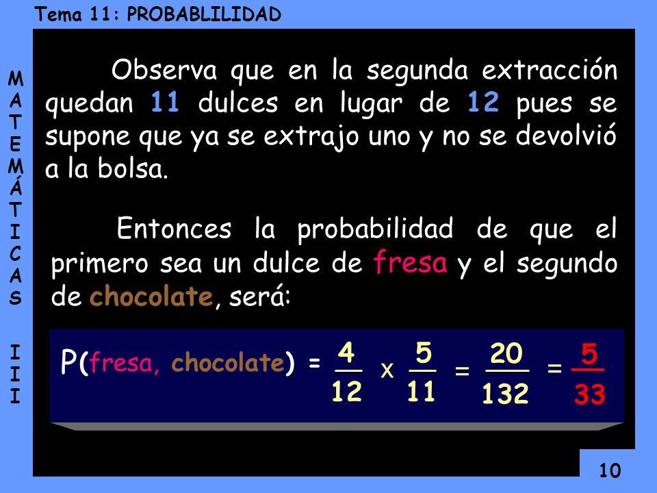 Observa que en la segunda extracción quedan 11 dulces en lugar de 12 pues se supone que ya se extrajo uno y no se devolvió a la bolsa.