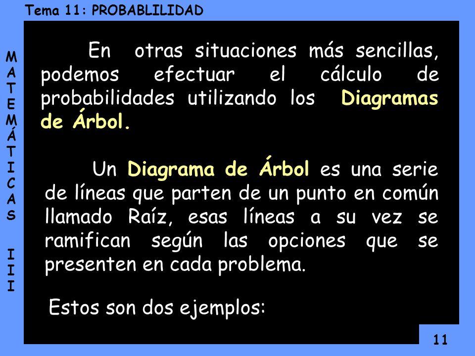 En otras situaciones más sencillas, podemos efectuar el cálculo de probabilidades utilizando los Diagramas de Árbol.