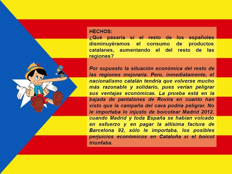 HECHOS: ¿Qué pasaría si el resto de los españoles disminuyéramos el consumo de productos catalanes, aumentando el del resto de las regiones