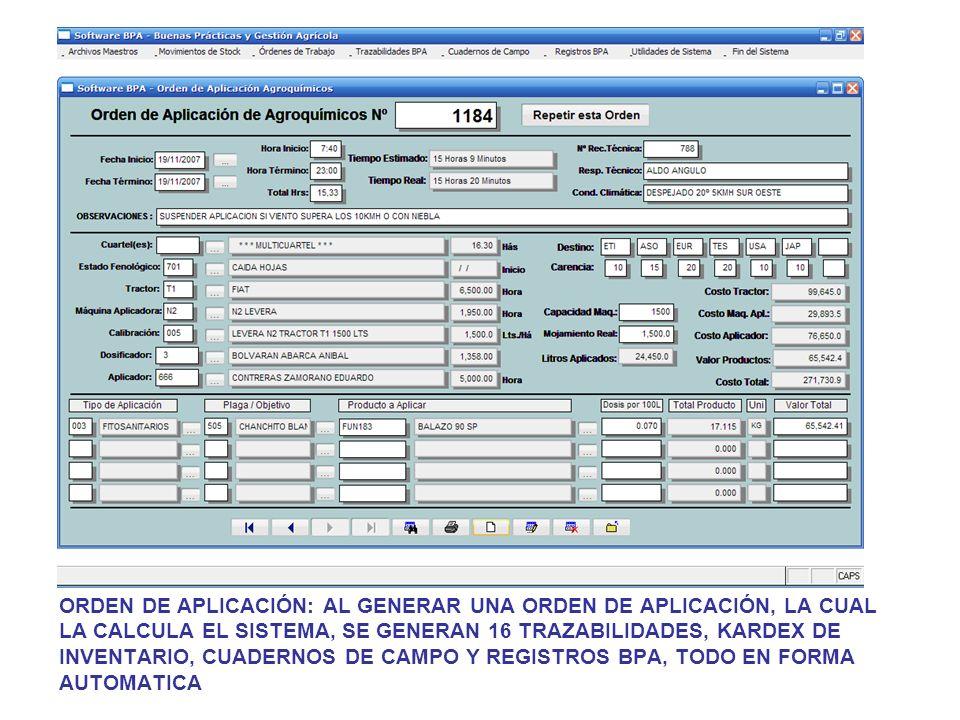 ORDEN DE APLICACIÓN: AL GENERAR UNA ORDEN DE APLICACIÓN, LA CUAL LA CALCULA EL SISTEMA, SE GENERAN 16 TRAZABILIDADES, KARDEX DE INVENTARIO, CUADERNOS DE CAMPO Y REGISTROS BPA, TODO EN FORMA AUTOMATICA