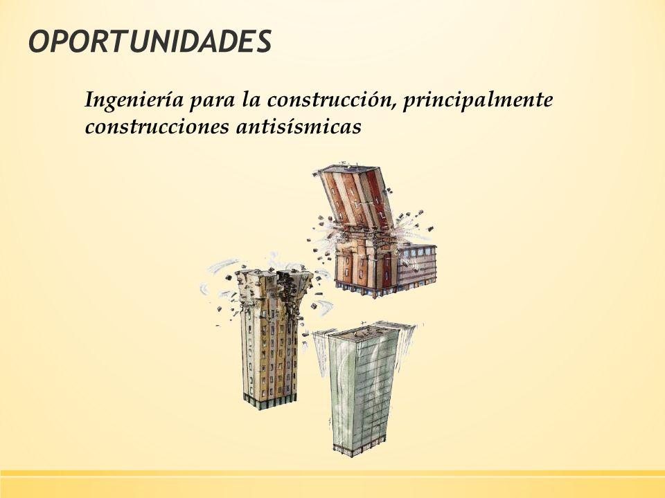 OPORTUNIDADES Ingeniería para la construcción, principalmente construcciones antisísmicas