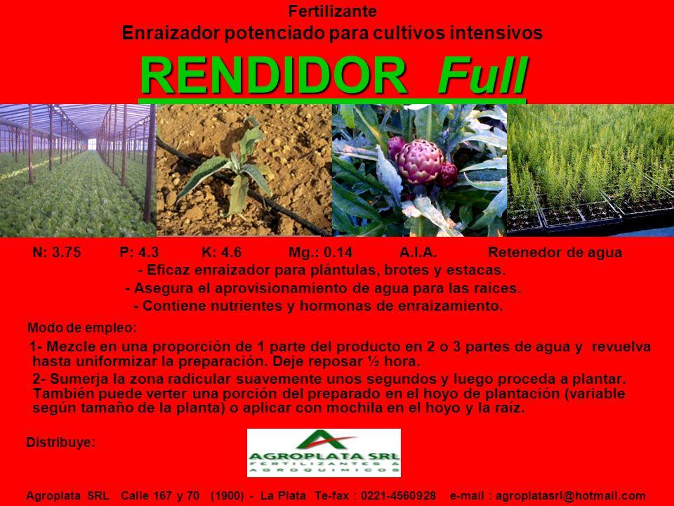 Fertilizante Enraizador potenciado para cultivos intensivos RENDIDOR Full