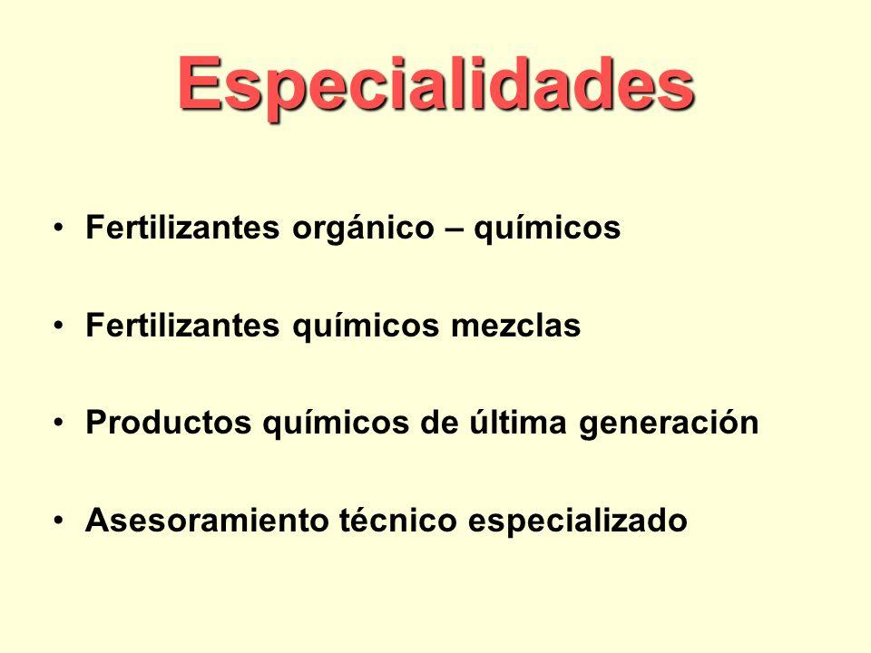 Especialidades Fertilizantes orgánico – químicos