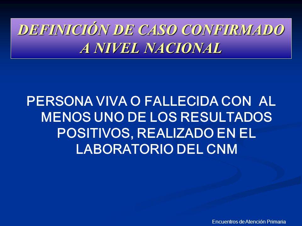 DEFINICIÓN DE CASO CONFIRMADO A NIVEL NACIONAL