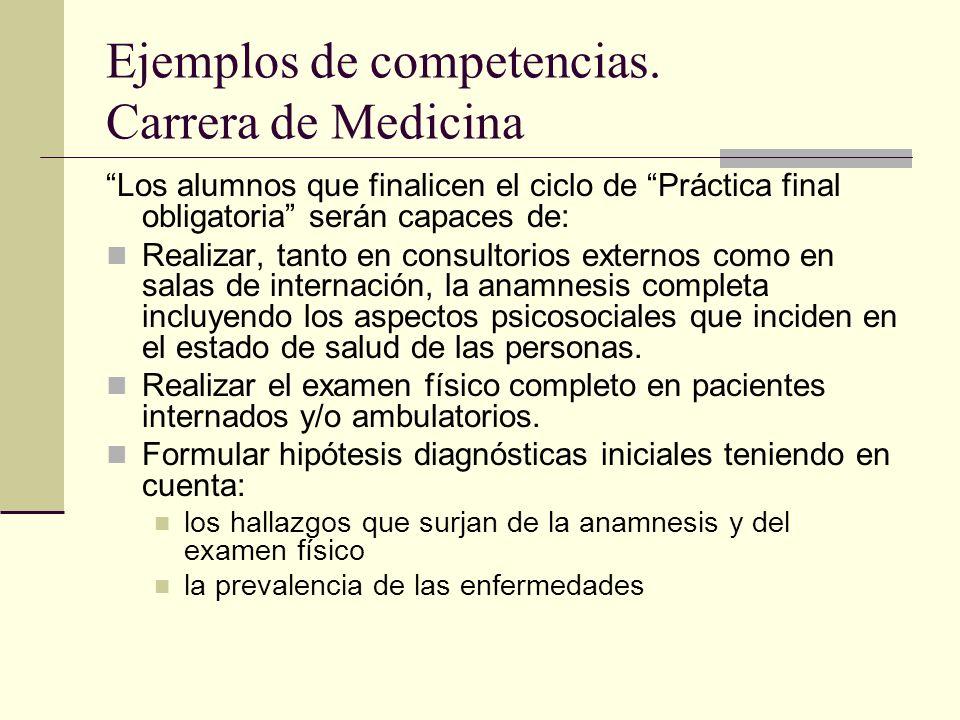 Ejemplos de competencias. Carrera de Medicina