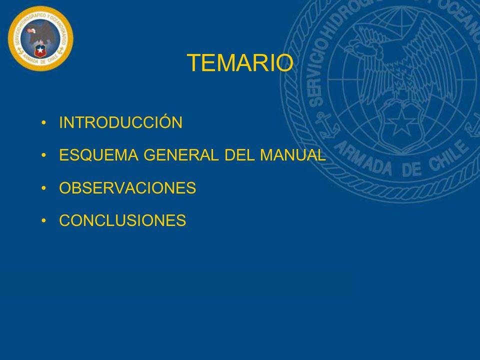 TEMARIO INTRODUCCIÓN ESQUEMA GENERAL DEL MANUAL OBSERVACIONES