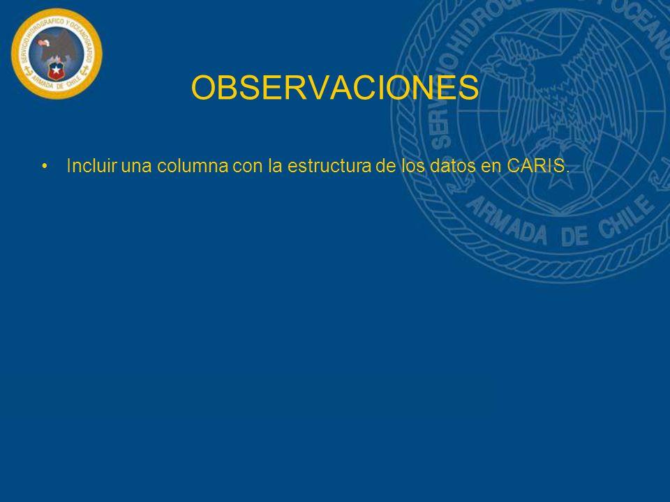 OBSERVACIONES Incluir una columna con la estructura de los datos en CARIS.