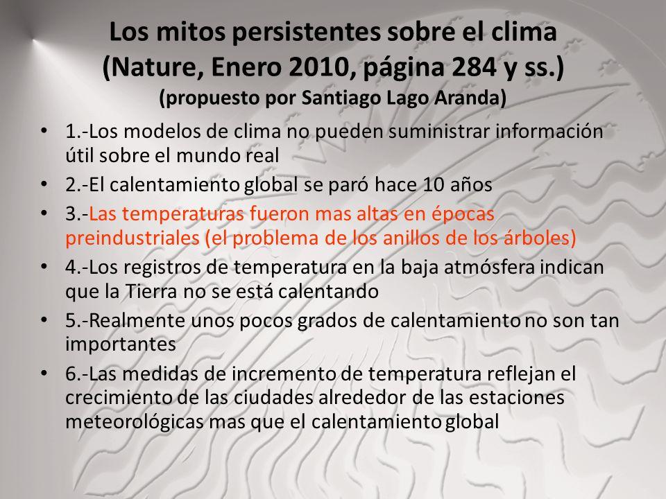 Los mitos persistentes sobre el clima (Nature, Enero 2010, página 284 y ss.) (propuesto por Santiago Lago Aranda)
