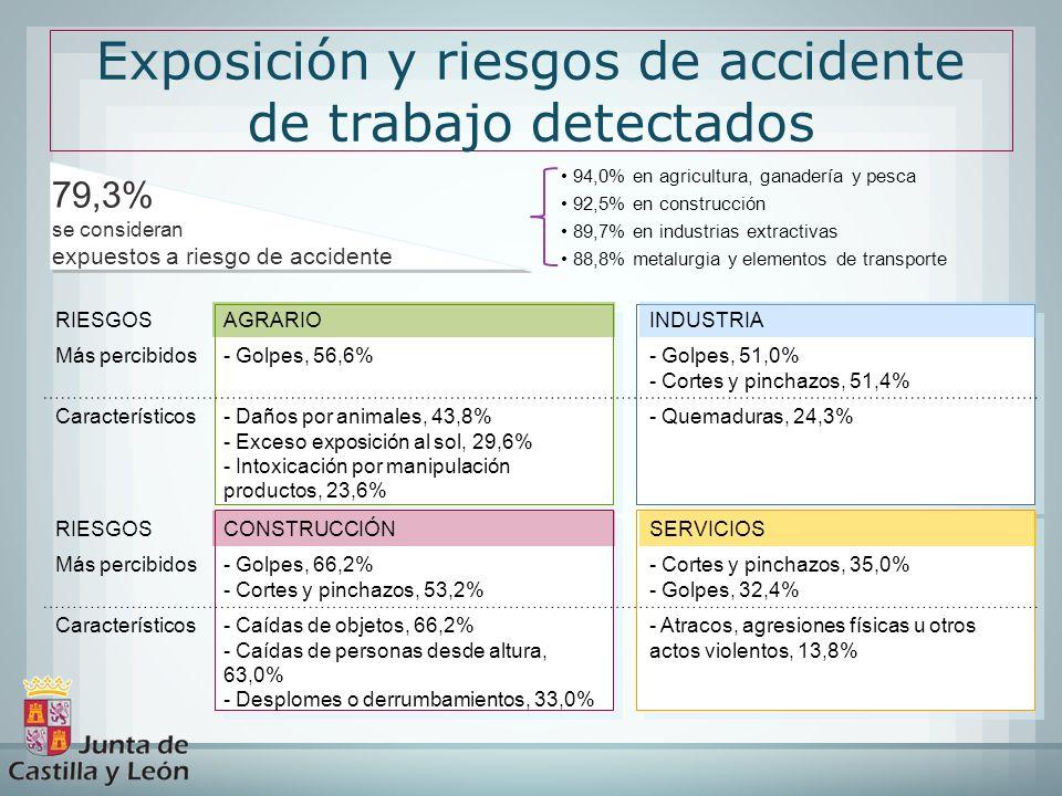 Exposición y riesgos de accidente de trabajo detectados