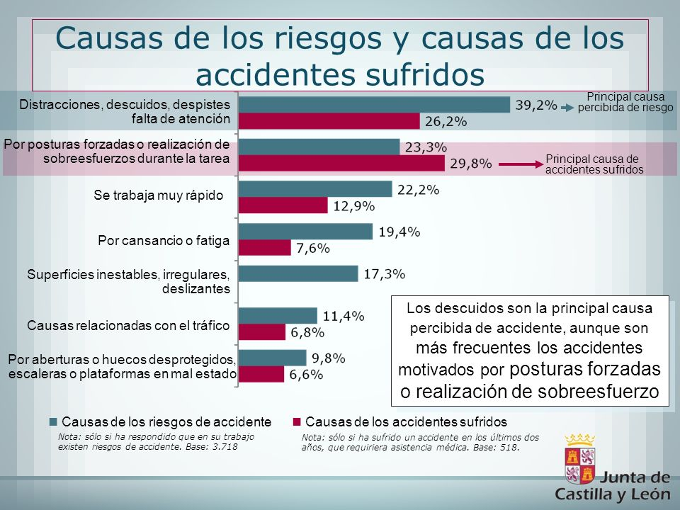 Causas de los riesgos y causas de los accidentes sufridos