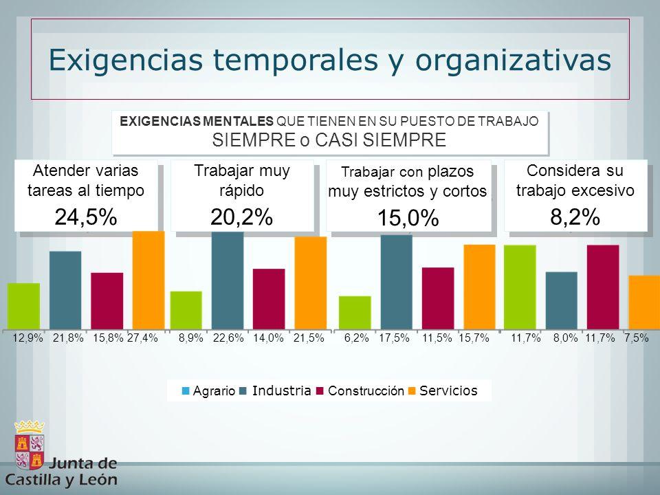 Exigencias temporales y organizativas