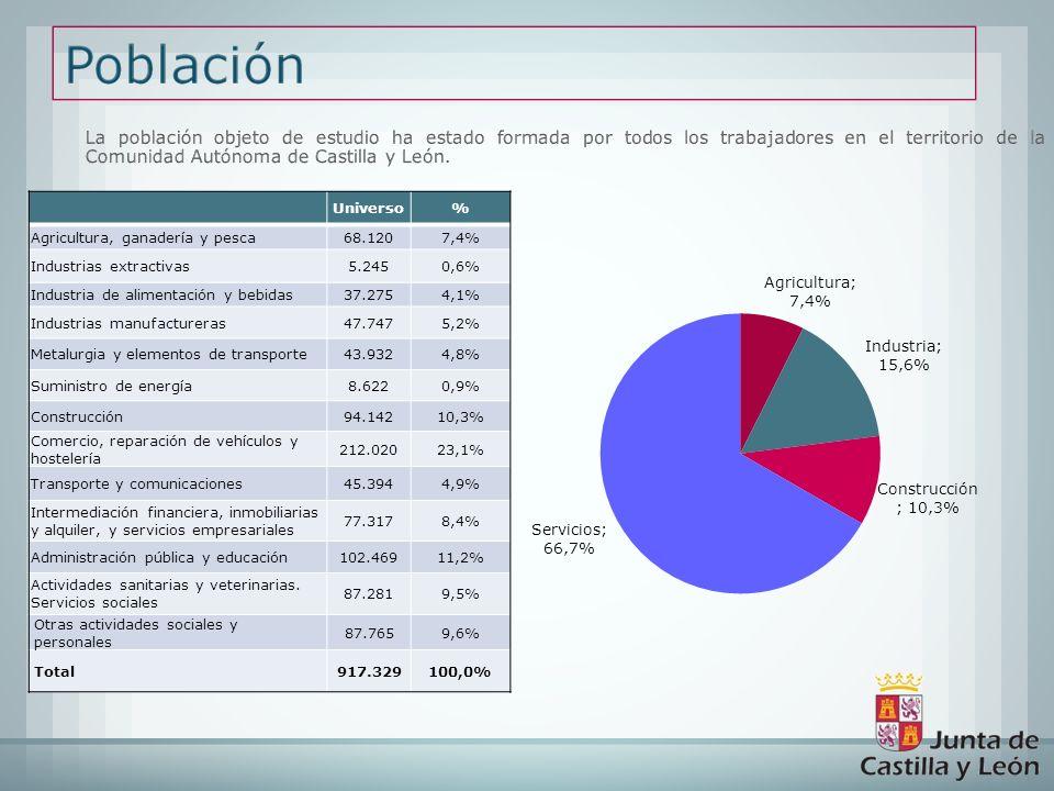 La población objeto de estudio ha estado formada por todos los trabajadores en el territorio de la Comunidad Autónoma de Castilla y León.