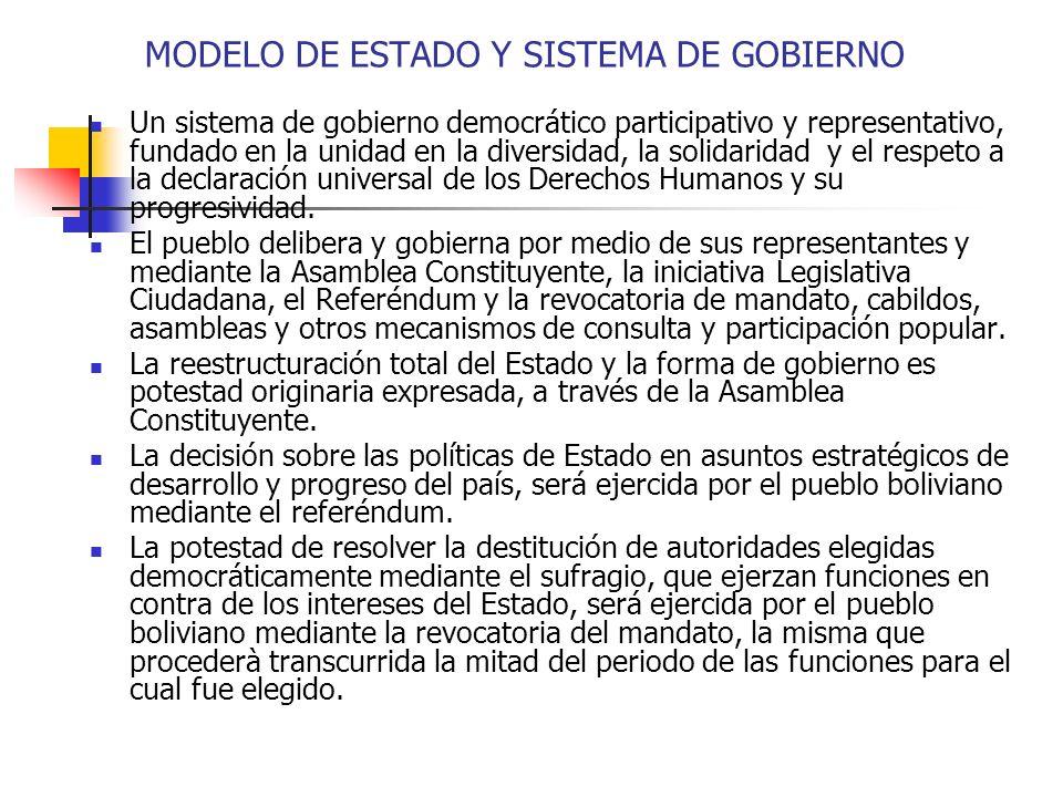 MODELO DE ESTADO Y SISTEMA DE GOBIERNO