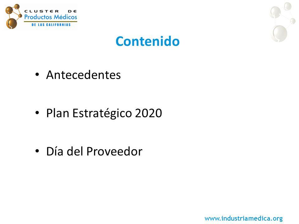 Contenido Antecedentes Plan Estratégico 2020 Día del Proveedor