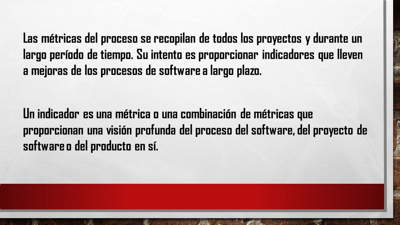 Las métricas del proceso se recopilan de todos los proyectos y durante un largo período de tiempo. Su intento es proporcionar indicadores que lleven a mejoras de los procesos de software a largo plazo.