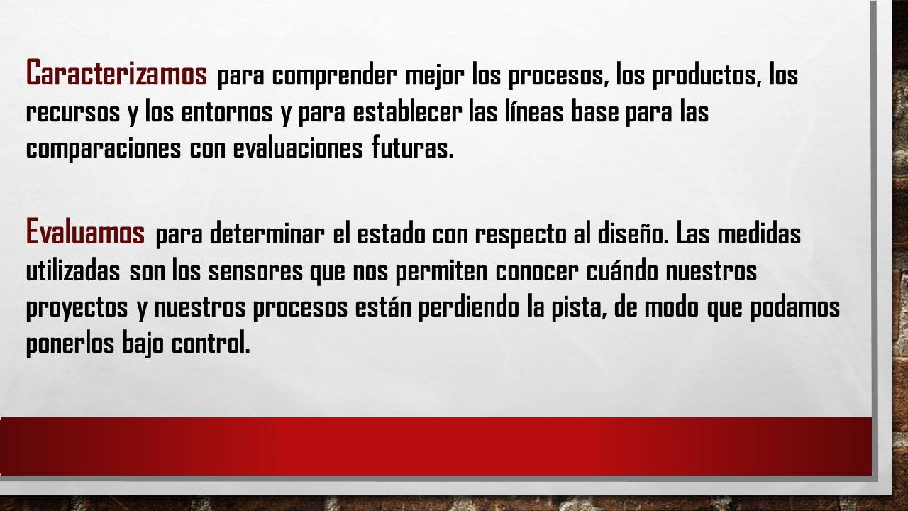 Caracterizamos para comprender mejor los procesos, los productos, los recursos y los entornos y para establecer las líneas base para las comparaciones con evaluaciones futuras.