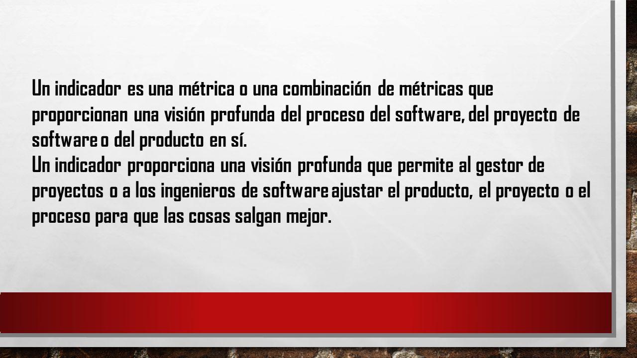 Un indicador es una métrica o una combinación de métricas que proporcionan una visión profunda del proceso del software, del proyecto de software o del producto en sí.