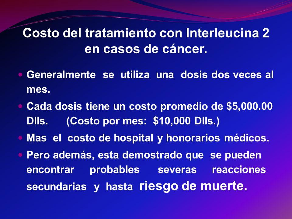 Costo del tratamiento con Interleucina 2 en casos de cáncer.