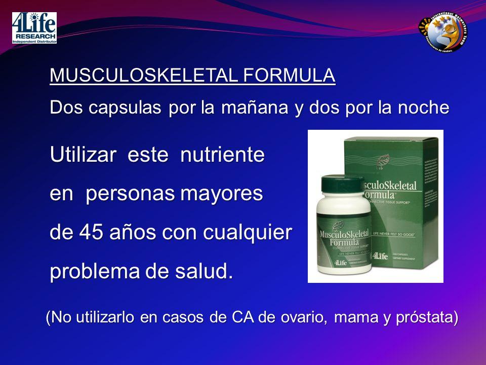 Utilizar este nutriente en personas mayores de 45 años con cualquier