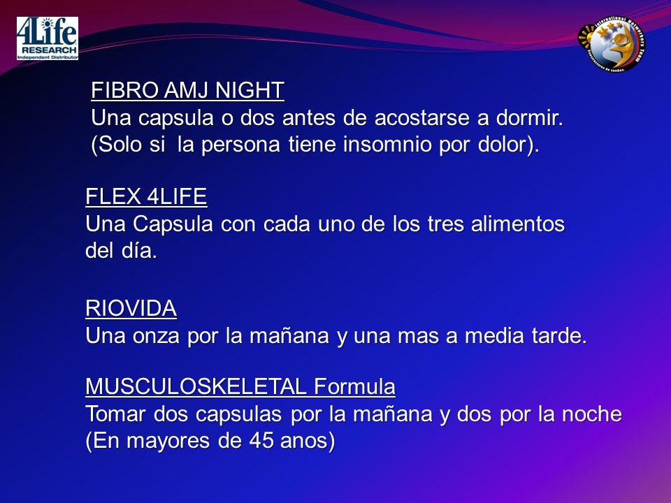 FIBRO AMJ NIGHT Una capsula o dos antes de acostarse a dormir. (Solo si la persona tiene insomnio por dolor).