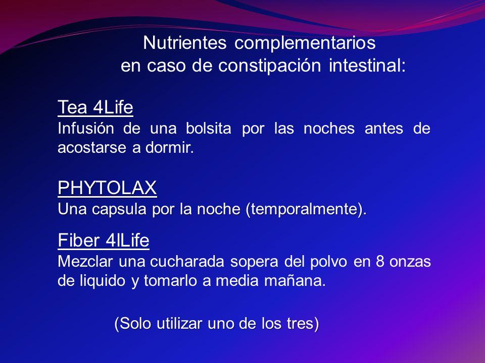 Nutrientes complementarios en caso de constipación intestinal: