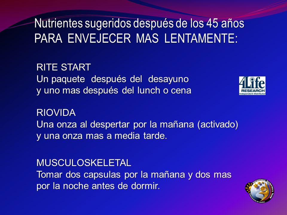 Nutrientes sugeridos después de los 45 años
