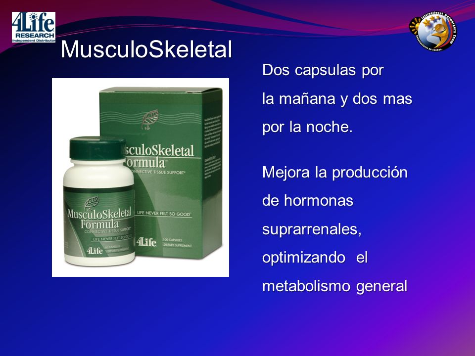MusculoSkeletal Dos capsulas por la mañana y dos mas por la noche.