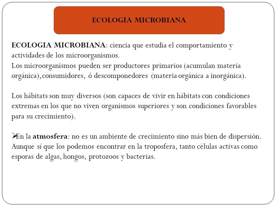 ECOLOGIA MICROBIANA ECOLOGIA MICROBIANA: ciencia que estudia el comportamiento y actividades de los microorganismos.