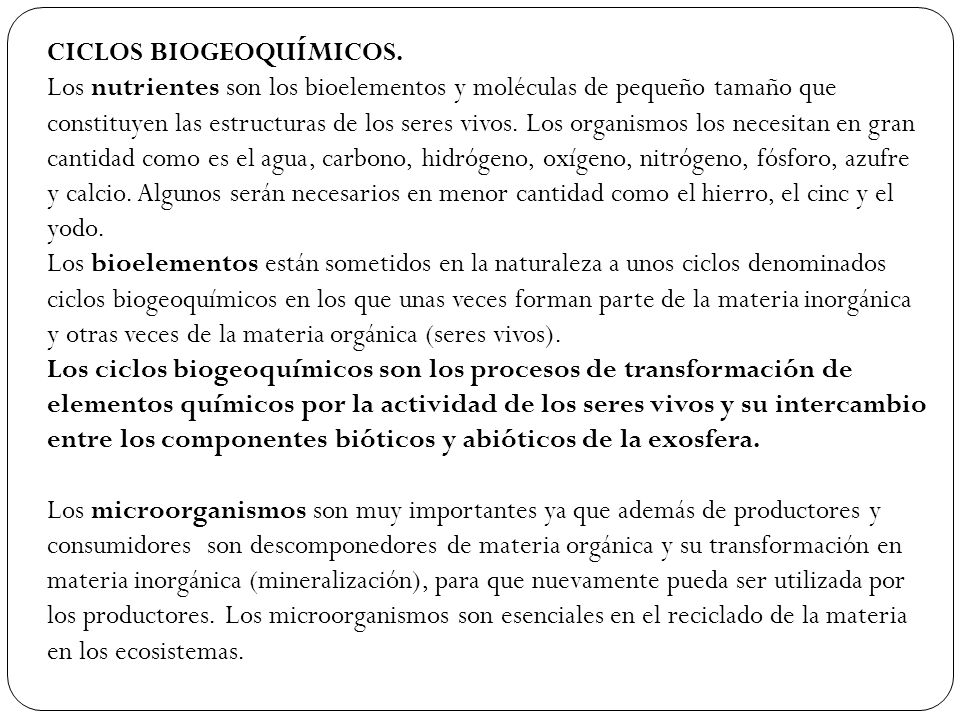 CICLOS BIOGEOQUÍMICOS.