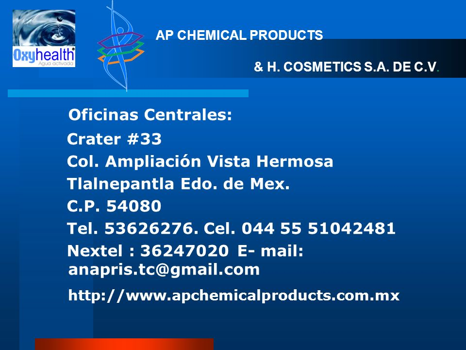 Oficinas Centrales: http://www.apchemicalproducts.com.mx Crater #33