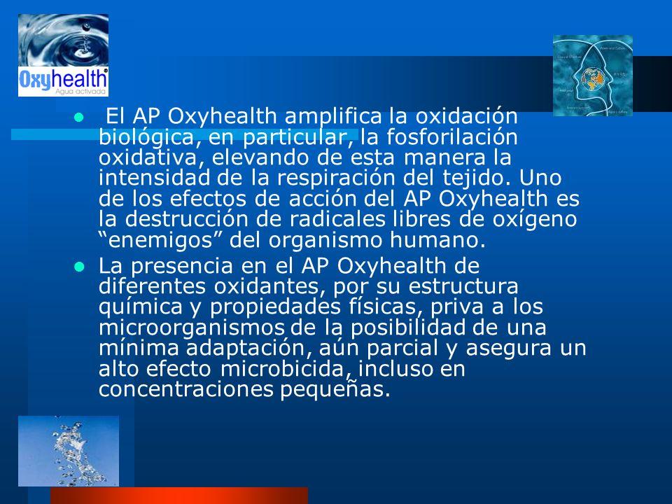 El AP Oxyhealth amplifica la oxidación biológica, en particular, la fosforilación oxidativa, elevando de esta manera la intensidad de la respiración del tejido. Uno de los efectos de acción del AP Oxyhealth es la destrucción de radicales libres de oxígeno enemigos del organismo humano.