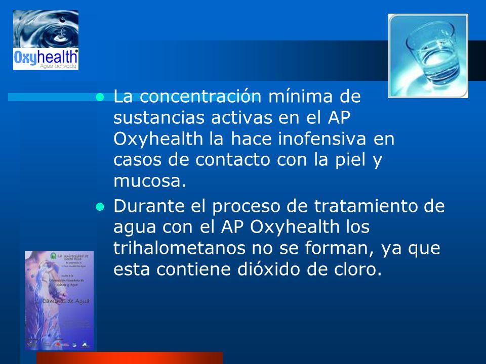 La concentración mínima de sustancias activas en el AP Oxyhealth la hace inofensiva en casos de contacto con la piel y mucosa.